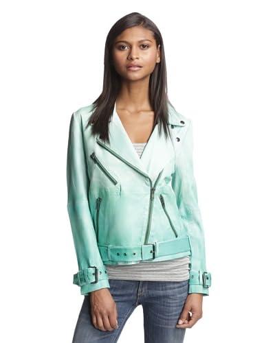 W118 by Walter Baker Women's Evan Leather Moto Jacket  [Green]