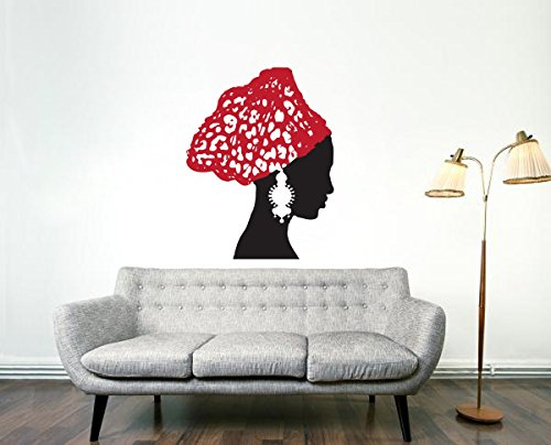 African Woman Vintage Earrings Scarf Art Wall Vinyl Decal  sc 1 st  Art Afro : wall vinyl decal - www.pureclipart.com