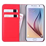 WAWO Samsung Galaxy S6 Case - PU Leather Wallet Flip Cover Case with Credit Card ID Pocket Money Slot for Samsung Galaxy S6 - Red