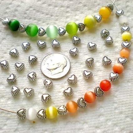 50pcs Tibetan Silver Sweet Heart Spacer Metal Beads 6mm