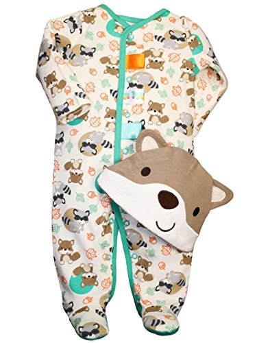Taggies Fox Print Baby Boy Sleep N Play Footie And Fox Hat Set By Taggies - Off-White - 6 Mths / 12-16 Lbs front-612546