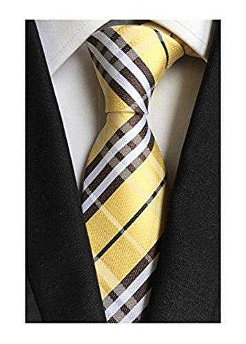 MINDENG New Classic Striped White Black Streak 100% Silk Men'S Tie Necktie Ties (Men Ties Yellow compare prices)