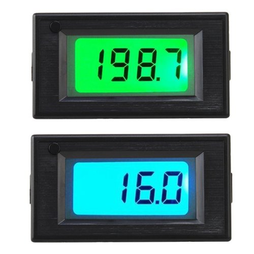 Image® Dc Digital 200V/200A Blue+Green Backlit Lcd Combo Panel Volt Meter/Amp Meter With Shunt