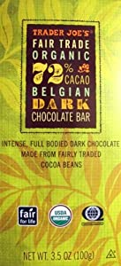 Trader Joe's Fair Trade Organic 72% Belgian Dark Chocolate Bar...3.5 Oz. Bar