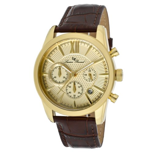 Lucien Piccard Men's 12356-YG-010 Mulhacen Chronograph Gold Tone Textured Dial Brown Leather Watch