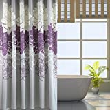 Gray Background and Flowers Pattern ,Mildew Proof and Waterproof Washable Printed Polyester Fabric Shower Curtain for Bathroom (72inch*78inch, Purple)