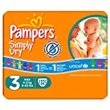 Pampers Simply Dry Size 3 Nappies 32 pack