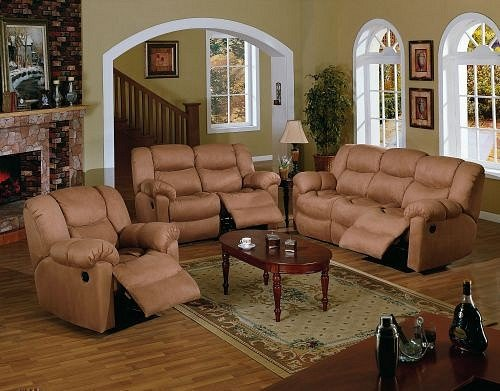 Buy Low Price Poundex 3pc Saddle Brown Microfiber Motion Recliner Loveseat Sofa Set (VF_AZ04-11153)