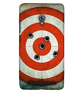 PrintHaat Designer Back Case Cover for Asus Zenfone 6 A600CG (bullet board :: red circle design :: bullet hole in black :: love shooting :: gun shot :: in black, grey and red)