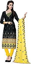 RADHE STUDIO Women's Cotton Un-Stitched Salwar Suit (RSOM KUM-8010, Black)
