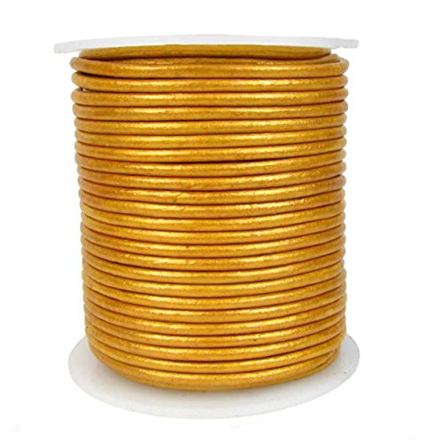 Round Leather Cord, 2.0 millimeter Metallic Gold, 25 Meter Spool