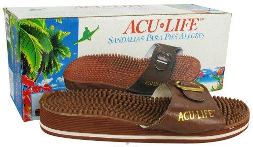 Acu Life Massage Sandals Brown W/Buckle M7/W8 Massage Sandals 1 Pair