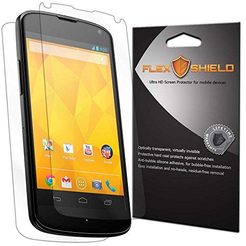 LG Nexus 4 Screen Protector & Back Cover [5-Pack][Google Nexus 4,E960,Verizon], Flex Shield - Clear Japanese PET Film w/ Lifetime Warranty - Bubble-Free HD w/ Anti-Fingerprint & Scratch Resistance (Lg Nexus 4 Back Cover compare prices)