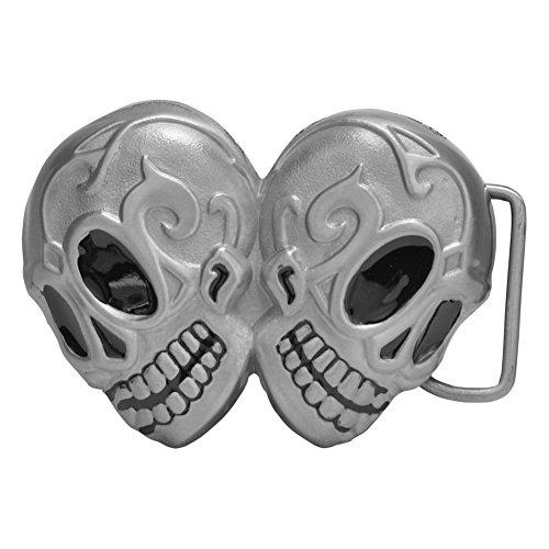 Buckle Rage Adult Unisex Double Tribal Sugar Skulls Biker Belt Buckle Silver