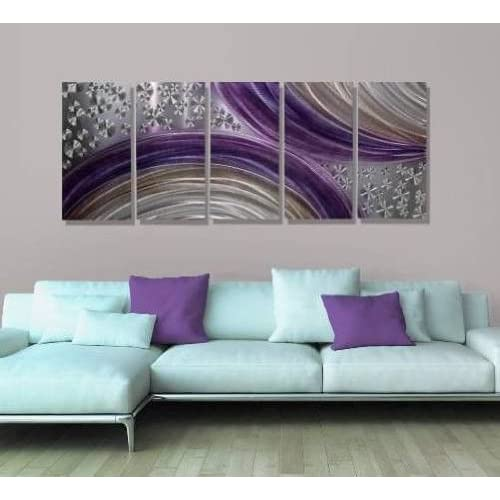 Abstract Purple and Silver Modern Metal Wall Art Painting Decor - Winter Solstice by Jon Allen