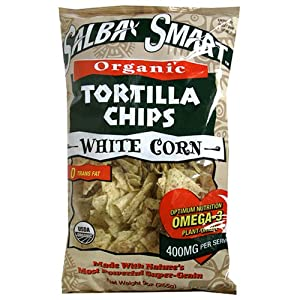 Salba Smart Organic White Corn Tortilla Chips, 9-Ounce Bags (Pack of 12)