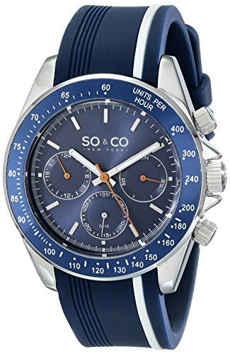 SO & CO New York Monticello Men's Quartz Watch with Blue Dial Analogue Display and Blue Rubber Strap 5010R.1