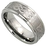 8mm Tungsten Wedding Band Celtic Knot Pattern Satin Finish Recessed Edges Comfort fit, size 7 ~ Sabrina Silver