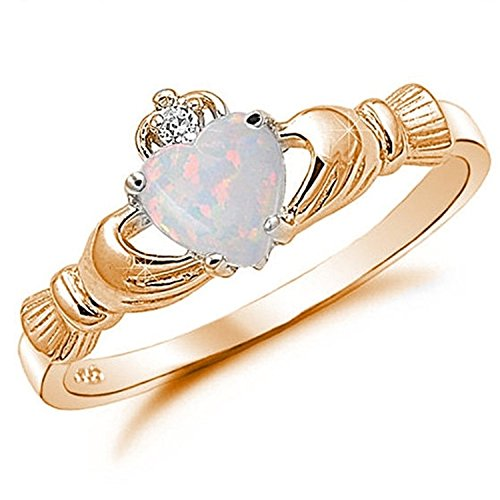 925 Sterling Silver Claddagh Ring Rose Gold Rhodium Plated Created Fiery Lab White Opal CZ accent (Gold Claddagh Rings For Women compare prices)