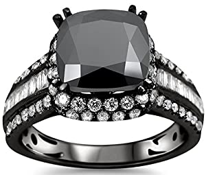 3.82ct Black Cushion Cut Diamond Engagement Ring 18k Black Gold Rhodium Plating Over White Gold