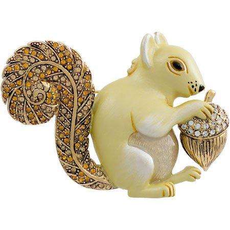 Brosche Eichhörnchen | Swarovski Crystal/Emaille/vergoldet | Geschenk für Damen | Ebuni jetzt kaufen