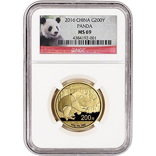 2016 CN China Gold Panda (15 g) Red Panda Label 200 Yuan MS69 NGC