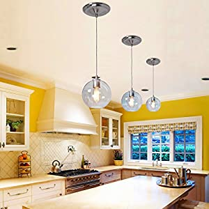Worth Home Products Instant Pendant Light with Clear Round Glass Shade