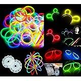 """200 8"""" Glow Stick Bracelets,mixed Colors,200bracelet/necklace Connectors,5 Pairs of Glow Glasses Connectors,1 Glow Ball/flower Kit,5 Hair Clip Barrettes"""