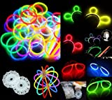 100 Knicklichter, Glow Sticks, Leuchtsticks+5 Leuchtbrille+5 Leucht Haarreifen+100Konnektoren+Kreisverbinder
