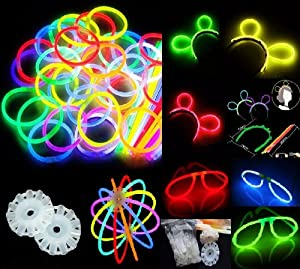 "200 8"" Glow Stick Bracelets,mixed Colors,200bracelet/necklace Connectors,5 Pairs of Glow Glasses Connectors,1 Glow Ball/flower Kit,5 Hair Clip Barrettes"