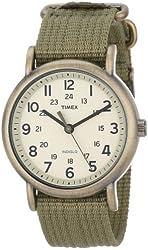 "Timex Unisex T2N894 ""Weekender"" Olive Green Nylon Strap Watch"