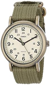 "Timex Unisex T2N894 ""Weekender"" Olive Green Nylon Strap Watch"