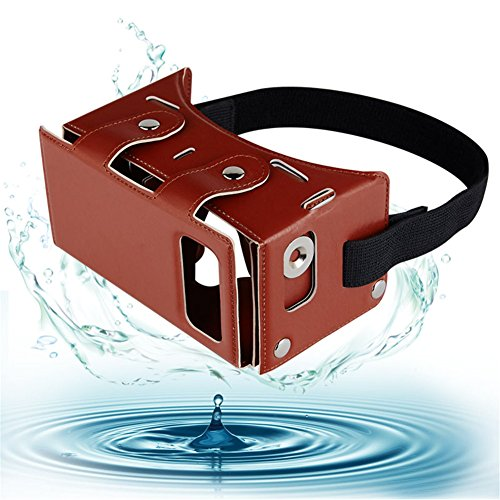 """Sminiker Waterproof Google Cardboard Kit,PU leather DIY 3D Glasses,3D Vr Virtual Reality Glasses ,Google Box for iPhone Samsung and Other 4.0-5.5"""" Smartphones with Headband(Brown)"""