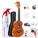 Aklot Ukulele Solid Mahogany Ukelele Beginners Starter Kit with Free Online Courses and Ukulele Accessories (Concert Low G) (Tamaño: Concert Low G)