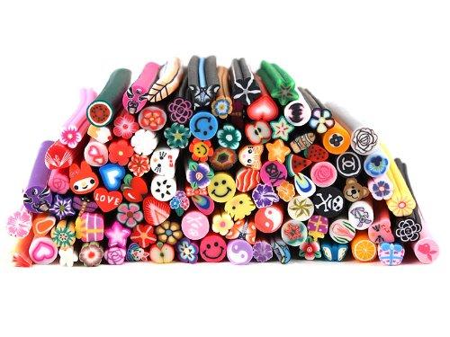 ... 100 Fimo Stäbe - Fingernagel Sticker Sticks - 3D Designs Nailart