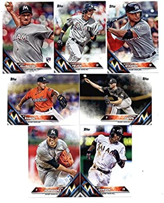 2016 Topps Baseball Series 1 Miami Marlins Team Set of 7 Cards: A.J. Ramos(#42), Jose Fernandez(#118), Dee Gordon(#147), Carter Capps(#172), Christian Yelich(#223), Brian Ellington(#226), Giancarlo Stanton(#269) SHIPPED IN PROTECTIVE STORAGE CASE