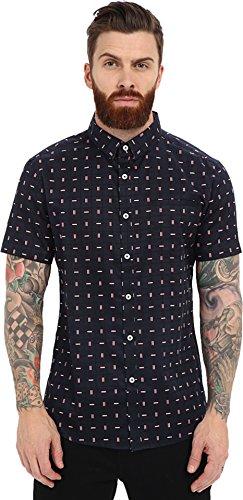 7 Diamonds Men's Somebody Short Sleeve Shirt Midnight Blue Button-up Shirt MD
