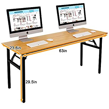"""Need Computer Desk Office Desk 63"""" Folding Table with BIFMA Certification Computer Table Workstation No Install Needed, Teak"""