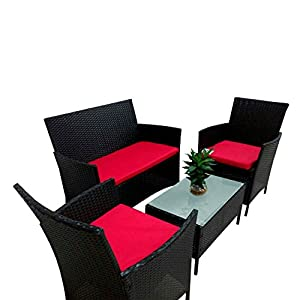 4PC Patio Red Cushioned Furniture PE Rattan Outdoor Garden Lawn Sofa Set