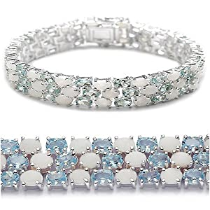 25.80 Carat Genuine Blue Topaz and Opal Sterling Silver Bracelet
