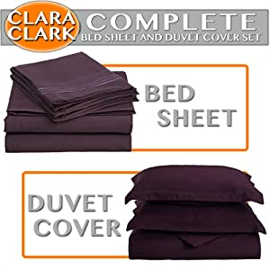CAL KING Size 1200 Thread Count 4pc Bed Sheet Set, Deep Pocket, DARK PURPLE