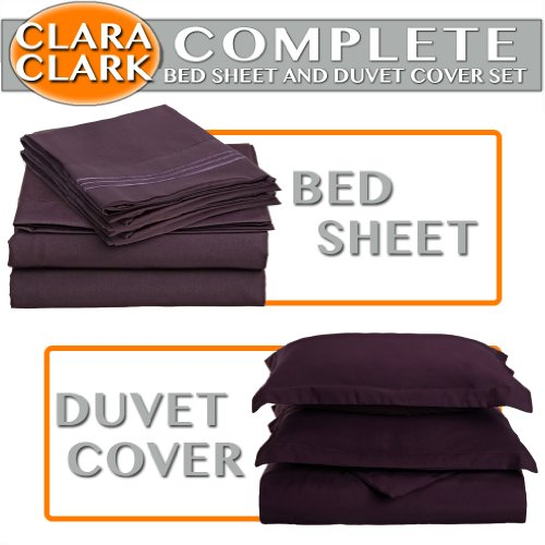 Clara Clark Complete 7-Piece Bed Sheet And Duvet Cover Set, Queen, Purple Eggplant front-970207