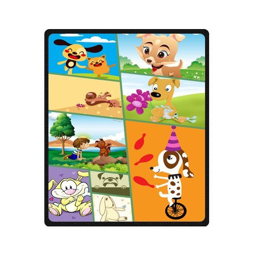 "Personalized Cute Dogs Jigsaw Blanket 50""X 60""(Medium) front-832854"