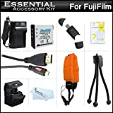 Must Have Accessory Kit For Fuji Fujifilm FinePix XP200 XP170 XP150, XP100 Waterproof Digital Camera Includes Replacement NP-50 Battery + Charger + Micro HDMI Cable + Float Strap + Deluxe Case + More