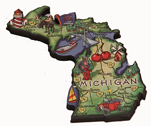 Michigan State Decowood Jumbo Wood Fridge Magnet 4 (Michigan Fridge Magnet compare prices)
