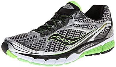 Saucony Men's Ride 7 Running Shoe,Silver/Black/Slime,7 M US