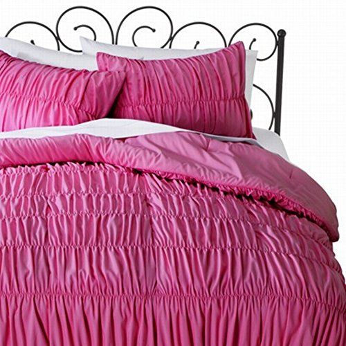 Xhilaration Full Queen Hot Pink Ruched Comforter Set With Shams 3 Pc front-77825