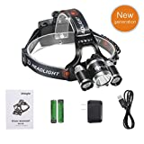 Shinight LED Headlamp Waterproof Headlight Flashlight with Three Light Source, Cree LED, Rechargeable Battery, Wall Charger (Hiking Camping Riding Fishing Hunting)