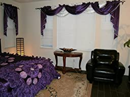 Octorose ® Royalty Custom Waterfall Window Valance Swags & Tails (Purple, Pair of Swags & Tails(132x47\