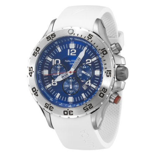 Nautica Men's NST Chrono N14537G White Resin Quartz Watch with Blue Dial